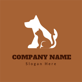 White and Brown Dog logo design