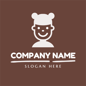 White and Brown Funny Kid logo design