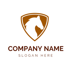 White and Brown Horse Badge logo design