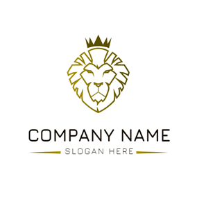 White and Golden Lion Face logo design