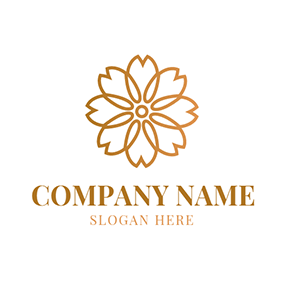 White and Golden Peony logo design