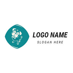 White and Green Bulldog Icon logo design