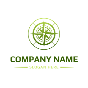 White and Green Compass logo design