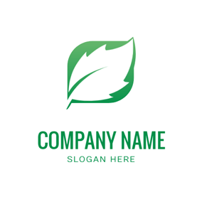 White and Green Mint Leaf logo design