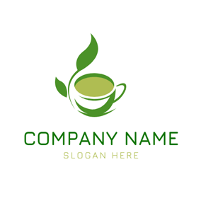 White and Green Tea Cup logo design