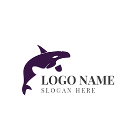 White and Purple Whale logo design