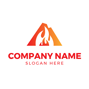 White and Red Fire Flame logo design