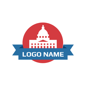 White and Red Government Building logo design