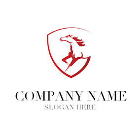White and Red Horse Badge logo design