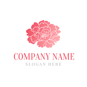 White and Red Peony logo design