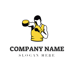 White and Yellow Boxer logo design