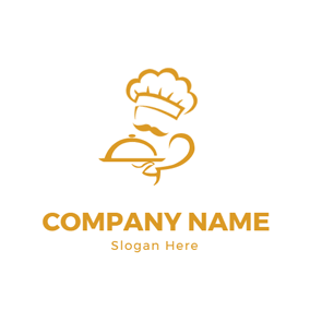 White and Yellow Cooking Chef logo design