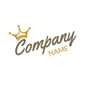 White and Yellow Crown logo design
