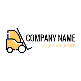White and Yellow Forklift logo design