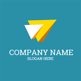 White and Yellow Play Button logo design