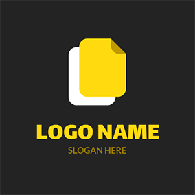 White and Yellow Rectangle logo design