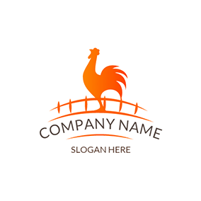White and Yellow Rooster Chicken logo design
