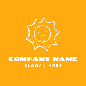 White and Yellow Sun logo design