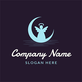 White Angel and Crescent Moon logo design