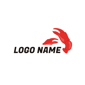 White Background and Red Crab Pincers logo design