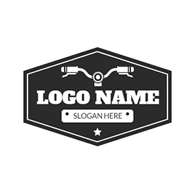 White Badge and Bike Headstock logo design