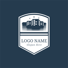 White Badge and Blue Architecture logo design
