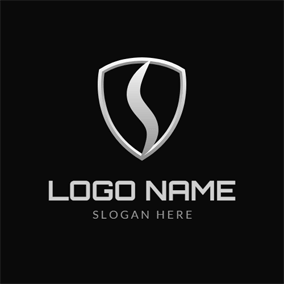 White Badge and Letter S logo design