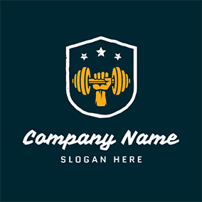 White Badge and Yellow Weight Lift logo design