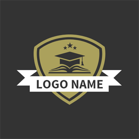White Banner and Beige Badge logo design