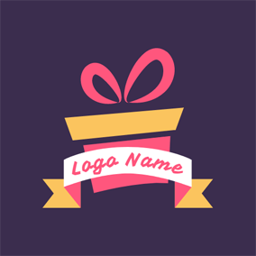 White Banner and Special Gift Box logo design