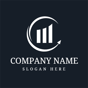 White Bar Graph and Stock logo design