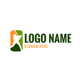 White Baseball Player Icon logo design