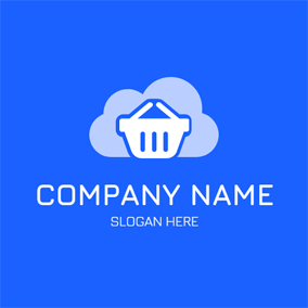 White Basket and Cloud logo design