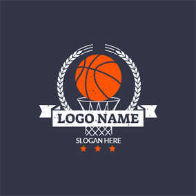 White Basket and Orange Basketball logo design