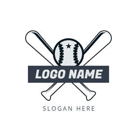 White Bat and Baseball logo design