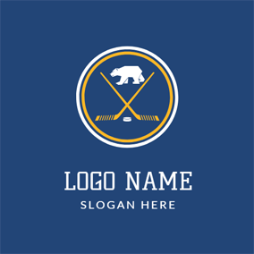 White Bear and Brown Hockey Stick logo design