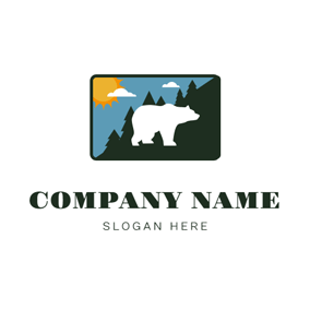 White Bear and Landscape logo design