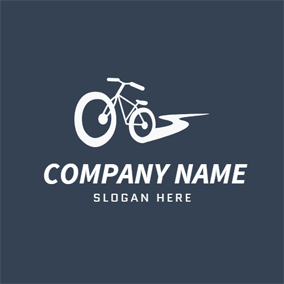 White Bicycle and Exercise logo design