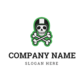 White Bone and Black Skull logo design
