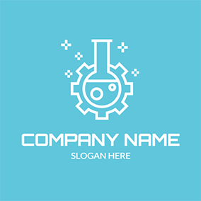 White Bottle and Gear Icon logo design