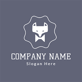 White Bowknot and Fox Head logo design