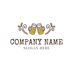 White Branch and Yellow Wine Glass logo design