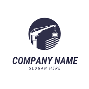 White Building and Crane logo design