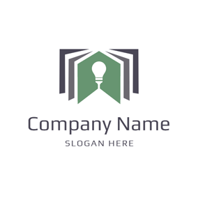 White Bulb and Green Book logo design