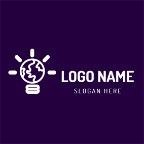 White Bulb and Purple Earth logo design