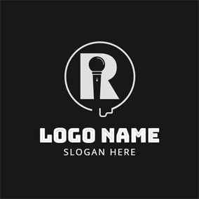White Cable and Black Microphone logo design