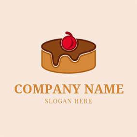 White Cherry and Chocolate Cake logo design