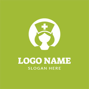 White Circle and Beautiful Nurse logo design