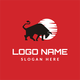 White Circle and Black Bull logo design