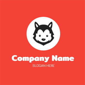 White Circle and Black Wolf Head logo design